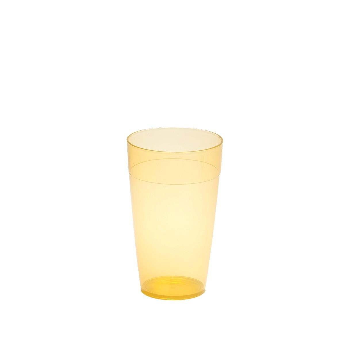Grand gobelet jaune incassable et personnalisable.