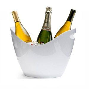 Vasque à champagne blanche et personnalisable.